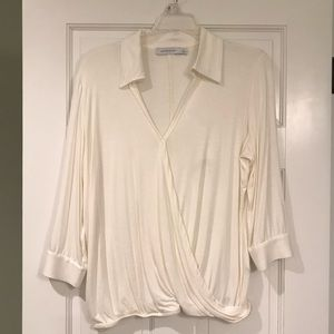 Jules & Jim Cream Wrap Shirt, size Large
